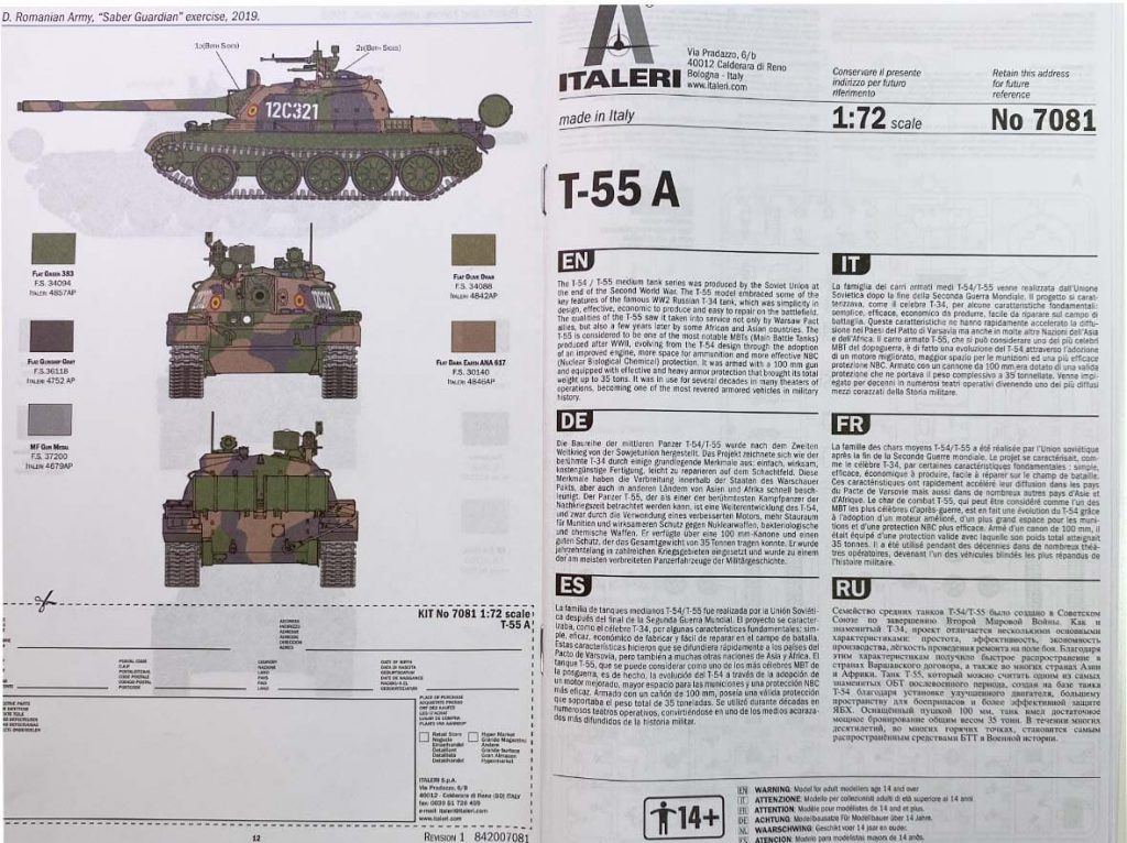 Bauanleistung Building Instruction Tank T-55A Italeri 1:72nd scale